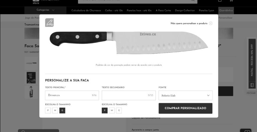 Driven.cx & VTEX: Personalização de Facas